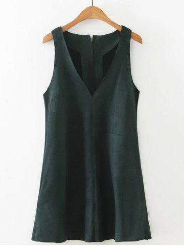Trendy V  Neck Mini Dress BLACKISH GREEN L
