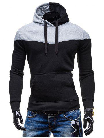 Kangaroo Pocket Color Block Hoodie - Black - M