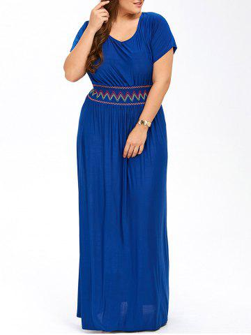 Online Plus Size Maxi Prom Dress with Short Sleeves