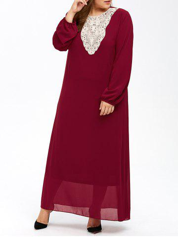 Chic Plus Size Muslim Lace Insert Maxi Long Sleeve Dress WINE RED 7XL