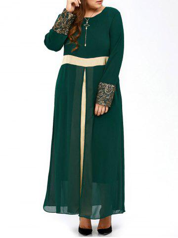 Plus Size Long Muslim Color Block Chiffon Maxi Dress - Blackish Green - 3xl