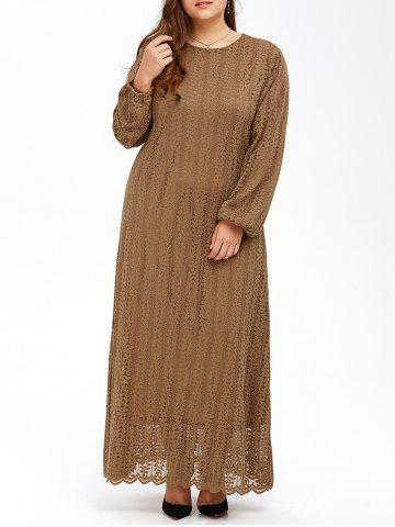 Affordable Muslim Lace Plus Size Maxi Long Sleeve Dress KHAKI 7XL