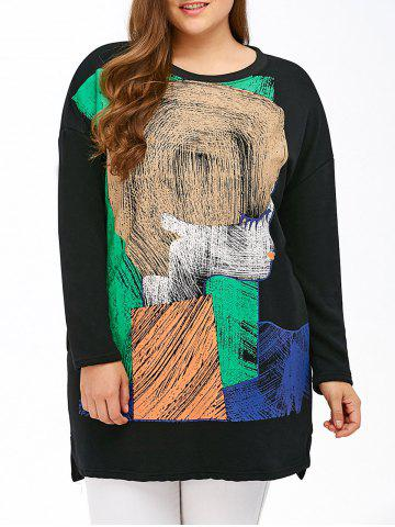 Latest Color Block Print Cartoon Sweatshirt BLACK 3XL