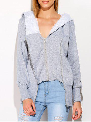 Online Faux Fur Double Zippers Design Hoodie GRAY ONE SIZE