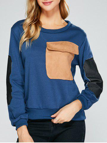 Chic Flap Pocket Color Block Applique Sweatshirt CADETBLUE 2XL