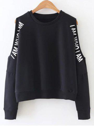 Hot Letter Printed Cold Shoulder  Sweatshirt