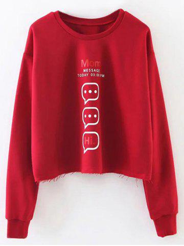 New Letter Graphic Frayed Hem Cropped Sweatshirt RED L