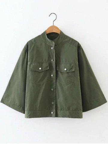 Outfits Button Fly Cropped Cape Jacket ARMY GREEN L
