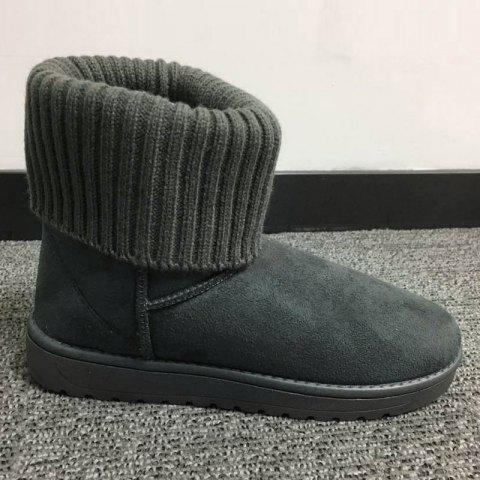 Cheap Flock Knitted Slip On Snow Boots GRAY 39
