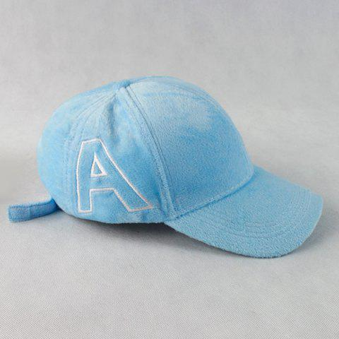 Fancy Warm Letter A Embroidery Plush Baseball Hat