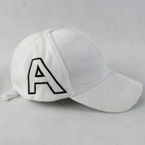 Warm Letter A Embroidery Plush Baseball Hat - White - One Size
