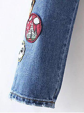 Best Patched Distressed Jeans - M DENIM BLUE Mobile