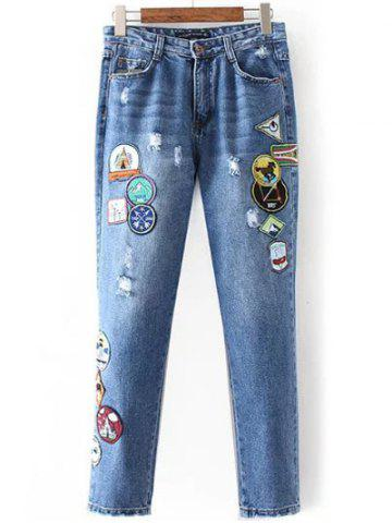 Buy Patched Distressed Jeans - M DENIM BLUE Mobile