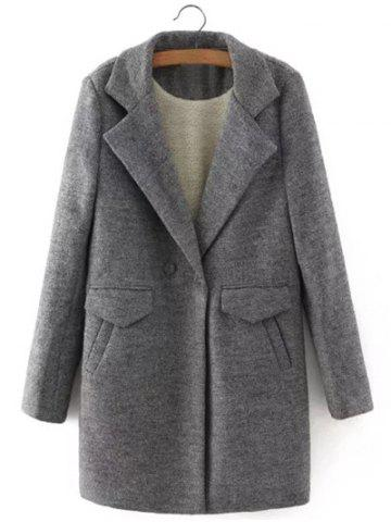 Hot One Button Sherpa Fleece Spliced Coat GRAY L