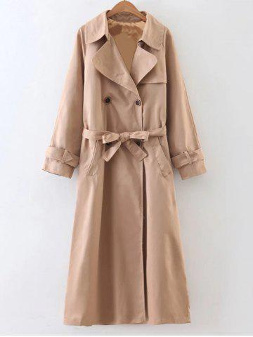 Affordable Slimming Double Breasted Belted Maxi Wrap Long Trench Coat KHAKI L