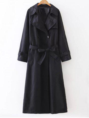 Slimming Double Breasted Belted Maxi Wrap Long Trench Coat - Black - M