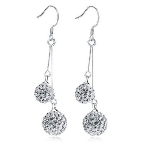 Fashion Rhinestoned Balls Drop Earrings SILVER
