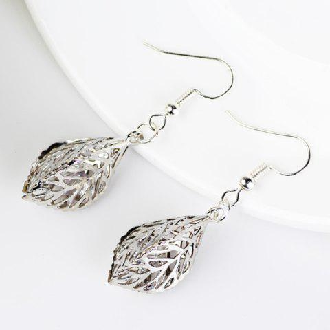 New Rhinestone Filigree Leaf Drop Earrings