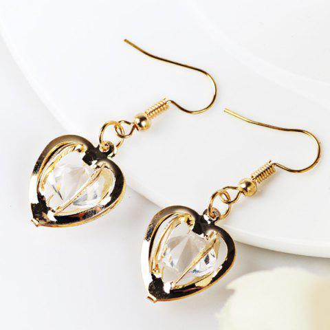 Latest Faux Gem Heart Drop Earrings GOLDEN