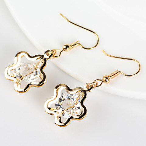 Outfits Faux Gem Floral Drop Earrings GOLDEN