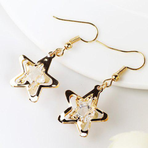 Fashion Faux Gem Star Drop Earrings GOLDEN