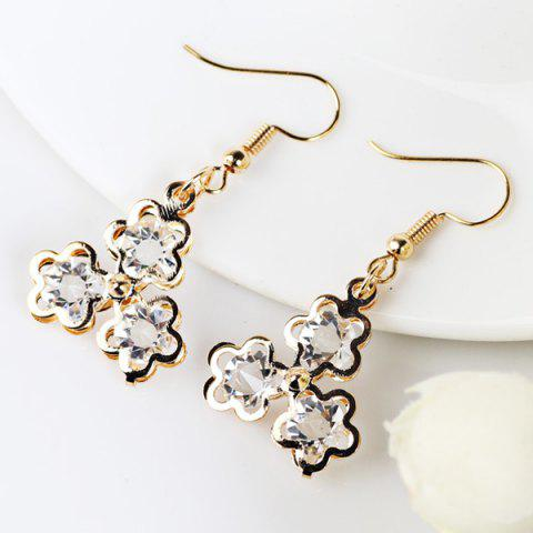 Outfit Faux Gemstone Flower Drop Earrings GOLDEN