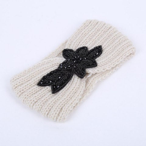 Trendy Winter Rhinestone Flower Infinite Knitted Headband WHITE