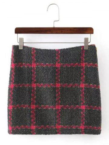 Unique Checked Mini  Wool Blend Skirt GRAY L