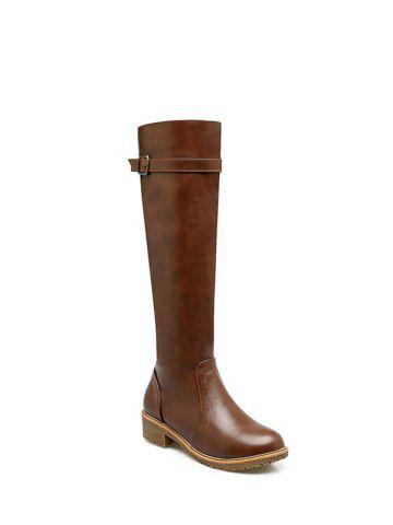 Affordable Buckle Strap Low Heel Knee High Boots