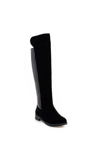 Sale Suede Splicing Knee High Boots BLACK 39