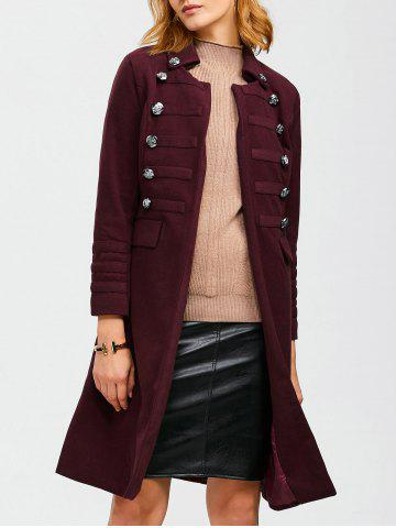 Discount Open Front Long Woolen Coat