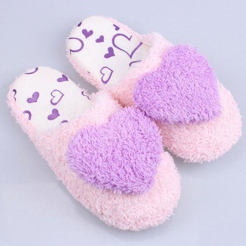 Online Heart Faux Fur Warm Slippers