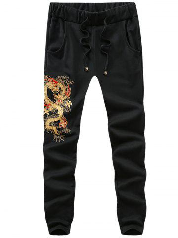 Outfit Drawstring Waist Dragon Embroidery Pants