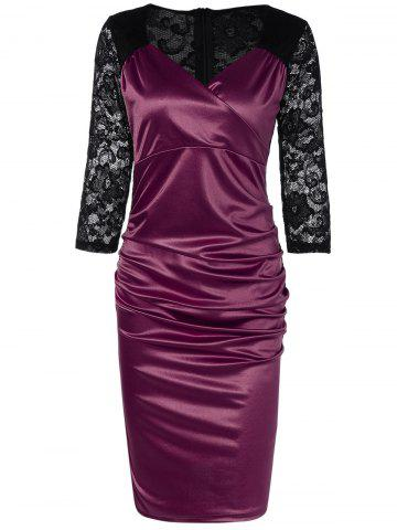 Latest Lace Panel Satin Ruched Cocktail Dress