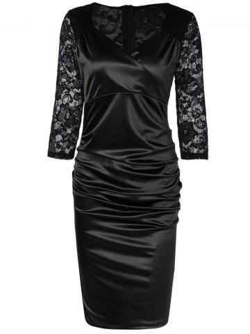 Lace Panel Satin Ruched Cocktail Dress - Black - S