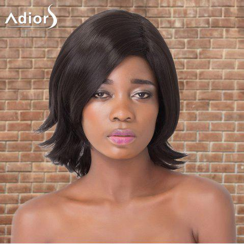 Chic Adiors Medium Straight Side Parting Tail Upwards Synthetic Wig BLACK