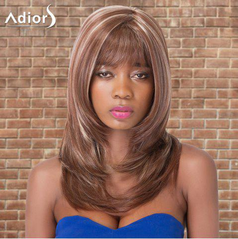 Unique Adiors Long Highlight Straight Inclined Bang Tail Adduction Synthetic Wig