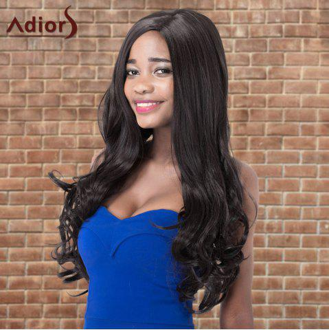 Trendy Adiors Long Shaggy Wavy Side Parting Synthetic Wig BLACK