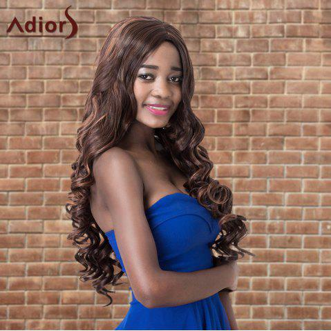 Best Adiors Highlight Long Shaggy Wavy Centre Parting Synthetic Wig DEEP BROWN