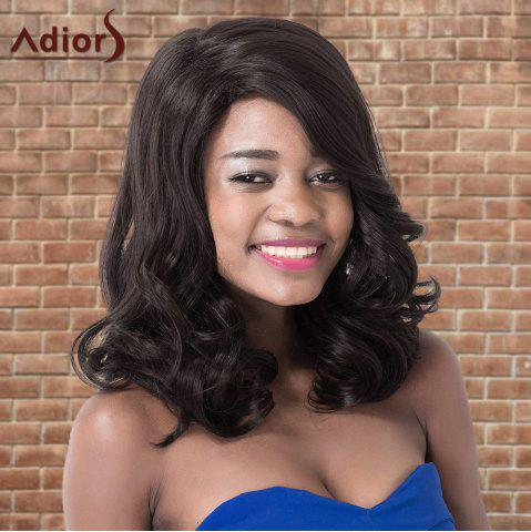 Affordable Adiors Long Fluffy Wavy Side Parting Synthetic Wig BLACK