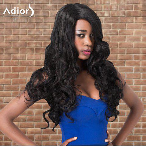 Trendy Adiors Long Wavy Side Parting Synthetic Wig BLACK