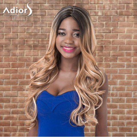Discount Adiors Long Shaggy Wavy Middle Parting Highlight Synthetic Wig