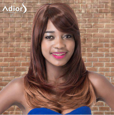 Trendy Adiors Long Oblique Bang Straight Tail Adduction Ombre Synthetic Wig