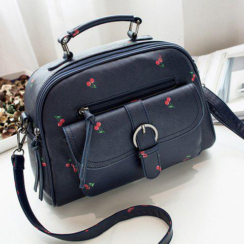 Outfit PU Leather Buckle Strap Cherry Print Handbag