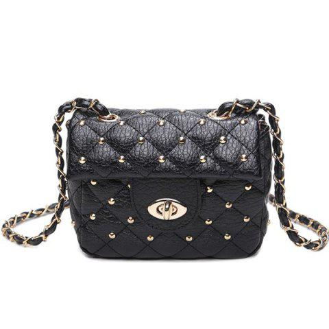 Best Chains Rivet Quilted Crossbody Bag BLACK