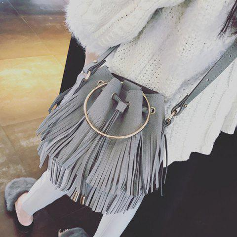 Sale Faux Suede Metal Ring Fringe Bucket Bag