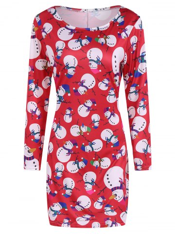 Trendy Festival Fulled Christmas Snowman Print Dress RED XL