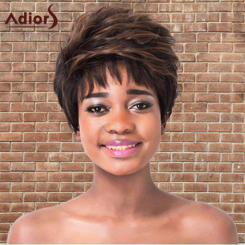 Fancy Adiors Short Highlights Fluffy Straight Synthetic Wig BLACK/BROWN