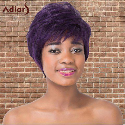 Trendy Adiors Synthetic Short Full Bang Fluffy Mixed Color Straight Wig