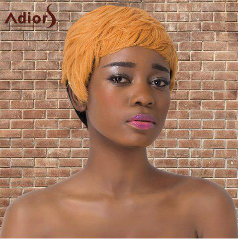 Outfits Adiors Synthetic Short Double Color Full Bang Straight Wig BLACK/GOLDEN